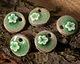 Bottle Green Crackle Porcelain Waterlily Coin Focal 20mm