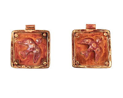 Patricia Healey Copper Bird Frame Pendant 32x27mm