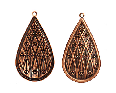 Stampt Antique Copper (plated) Lattice Teardrop 32x58mm