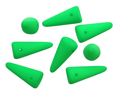 Czech Glass Bright Neon Green Spike 7x17mm