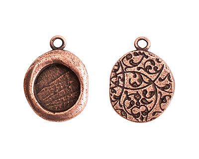 Nunn Design Antique Copper (plated) Crest Seal Bezel Pendant 19x25mm