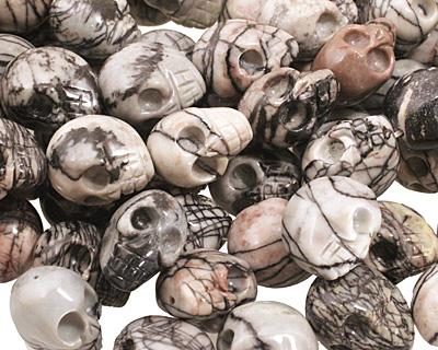 Black Water Jasper Skull 20x15mm
