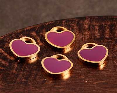 Orchid Enamel Gold (plated) Stainless Steel Heart Charm 11x12mm