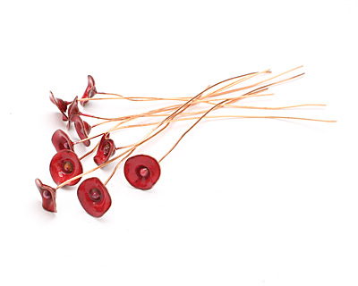 C-Koop Enameled Metal Flame Red Small Flower Headpin 13mm