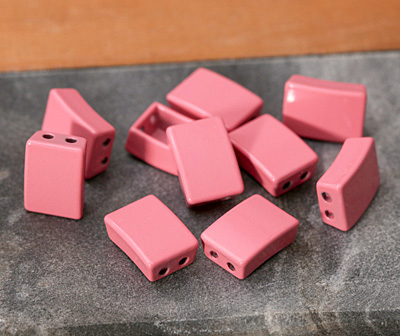 Rose Enamel 2-Hole Tile Rectangle Bead 12x8mm