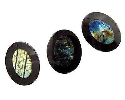 Labradorite Oval Pendant Inlayed in Black Jasper 34x44mm