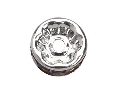 Silver (plated) Tanzanite Rhinestone Rondelle 8mm