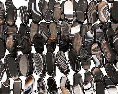 Black Sardonyx Flat Freeform Oval (side drilled) 11-16x30-40mm