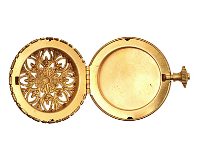 Brass Round Timepiece Heirloom Locket 45x60mm