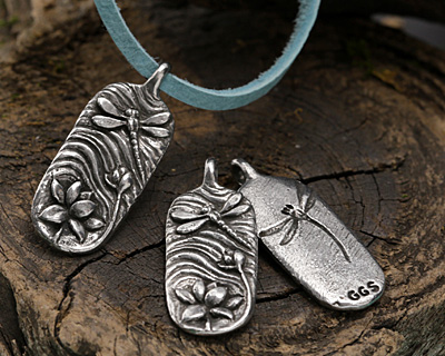 Green Girl Pewter Dragonfly Lily Pendant 14x36mm