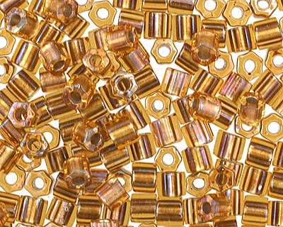 TOHO Gold Lined Topaz Hex 11/0 Seed Bead
