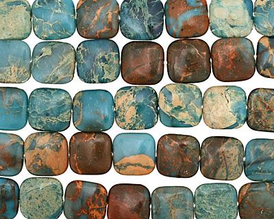 Turquoise Impression Jasper Puff Square 20mm