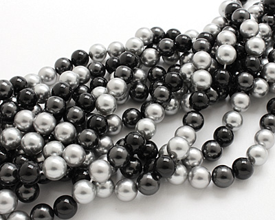 Grayscale Shell Pearl Mix Round 12mm