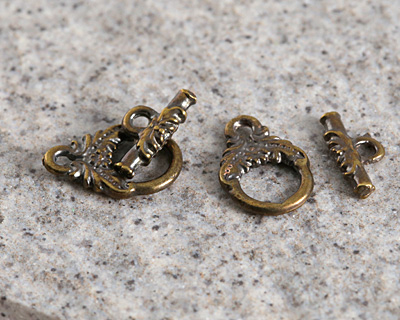 Greek Antique Brass (plated) Victorian Toggle Clasp 10x14mm, Bar 11mm