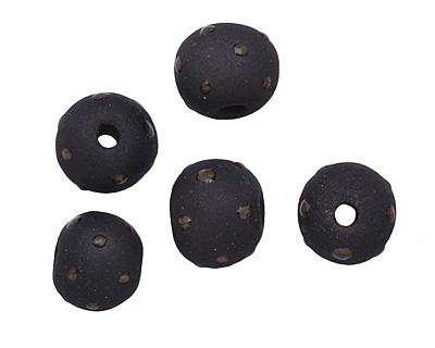 Gaea Ceramic Black Polka Dot on Black Round Bead 10-12mm
