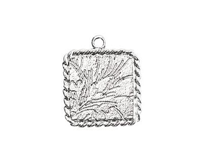 Nunn Design Sterling Silver (plated) Mini Ornate Square Bezel Pendant 16x20mm