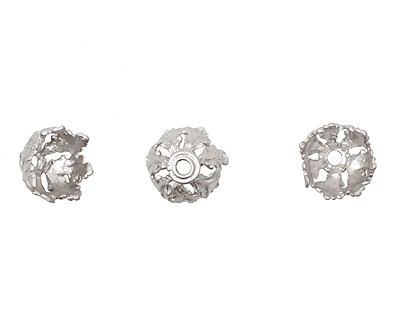 Ezel Findings Rhodium (plated) Leaf Bead Cap 8x13mm