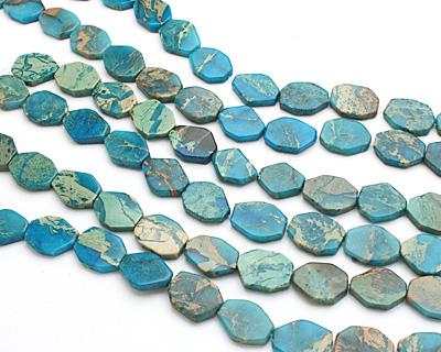 Turquoise Impression Jasper Faceted Flat Slab 19-20x14-15mm