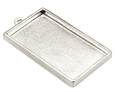 Nunn Design Sterling Silver (plated) Grande Rectangle Bezel Pendant 46x25mm