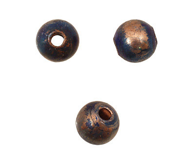 Missficklemedia Patinated Peacock Blue Smooth Round 8mm