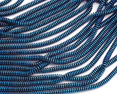 Metallic Blue Hematite (plated) Thin Rondelle 3x6mm