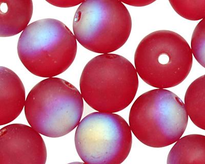 Czech Glass Matte Garnet AB Round 6mm