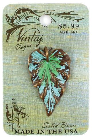Vintaj Vogue Natural Brass Woodland Leaf 23x38mm