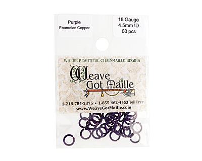 Purple Enameled Copper Round Jump Ring 6.5mm, 18 gauge