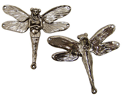 Green Girl Pewter Dragonfly Fairy 63x57mm