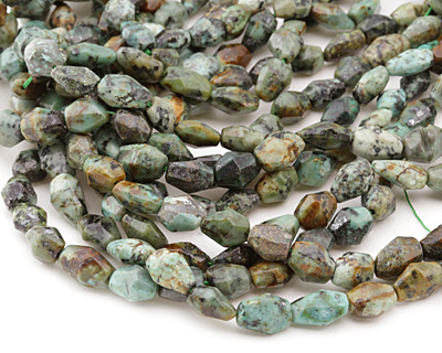 African Turquoise Faceted Rice 9-16x8-10mm