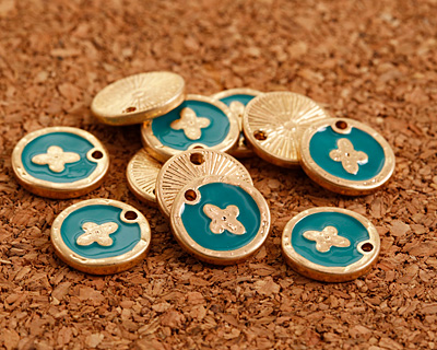 Zola Elements Turquoise Enamel Matte Gold Finish Cross Coin Focal 13mm