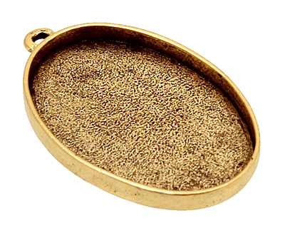 Nunn Design Antique Gold (plated) Grande Oval Bezel Pendant 44x28mm