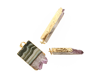 Amethyst Slice Pendant Set in Gold (plated) 20-21x26-48mm