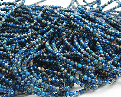Midnight Blue Impression Jasper Round 3mm