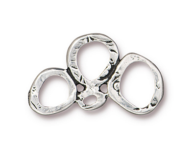 TierraCast Antique Silver (plated) 3 Ring Link 25x14mm