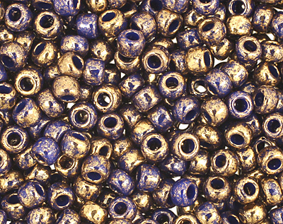 TOHO Gilded Marble Blue Round 11/0 Seed Bead