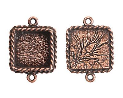 Nunn Design Antique Copper (plated) Mini Ornate Square Bezel Link 24x18mm