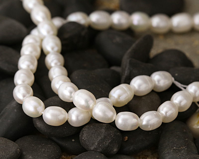 Pearly White Rice Freshwater Pearl 5-7x5-6mm