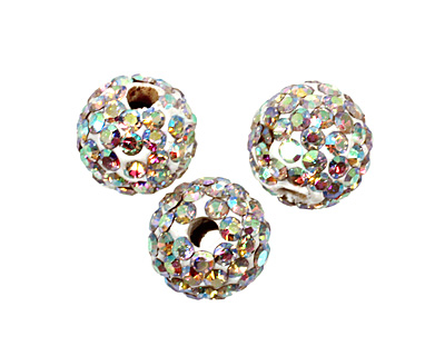 Crystal AB Pave Round 8mm (1.5mm hole)