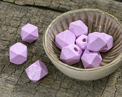 Lavender Wood Faceted Nugget 10mm