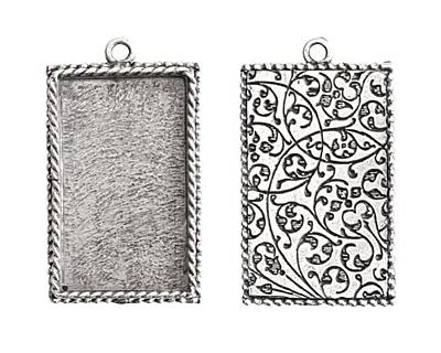 Nunn Design Antique Silver (plated) Large Ornate Rectangle Bezel Pendant 25x43mm