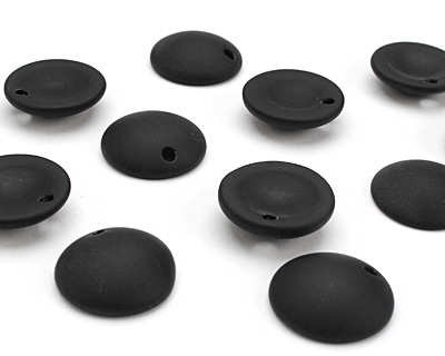 Jet Recycled Glass Concave Coin 24mm