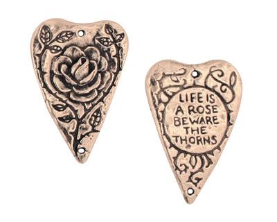 Green Girl Pewter Heart Rose Pendant 28x19mm
