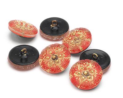 Czech Glass Siam Ruby w/Gold Starflower Button 18mm