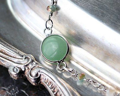 Green Aventurine Coin Focal Link w/ Silver Finish 21x13mm