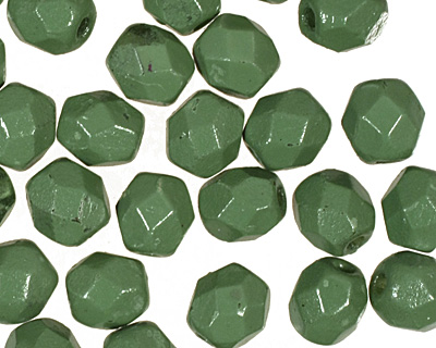 Czech Fire Polished Glass Coated Opaque Pea Green Round 4mm