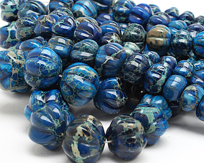 Midnight Blue Impression Jasper Graduated Pumpkin 10-20x14-25mm