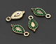 Zola Elements Antique Gold (plated) Beaded Evergreen Teardrop Charm 7x15mm