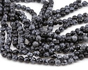 Snowflake Obsidian Faceted Round 8mm