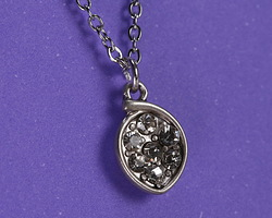 Clear Pave CZ Antique Silver (plated) Cupped Leaf Charm 8x13mm